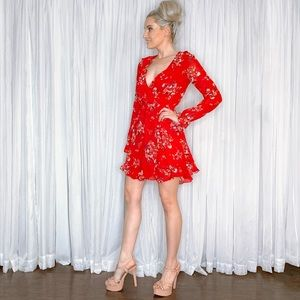 Divided Dresses - Long Sleeve Red Floral Mini Dress